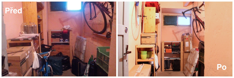 Úklid sklepa, před a po, Home Staging Praha, jarní úklid, pořádek