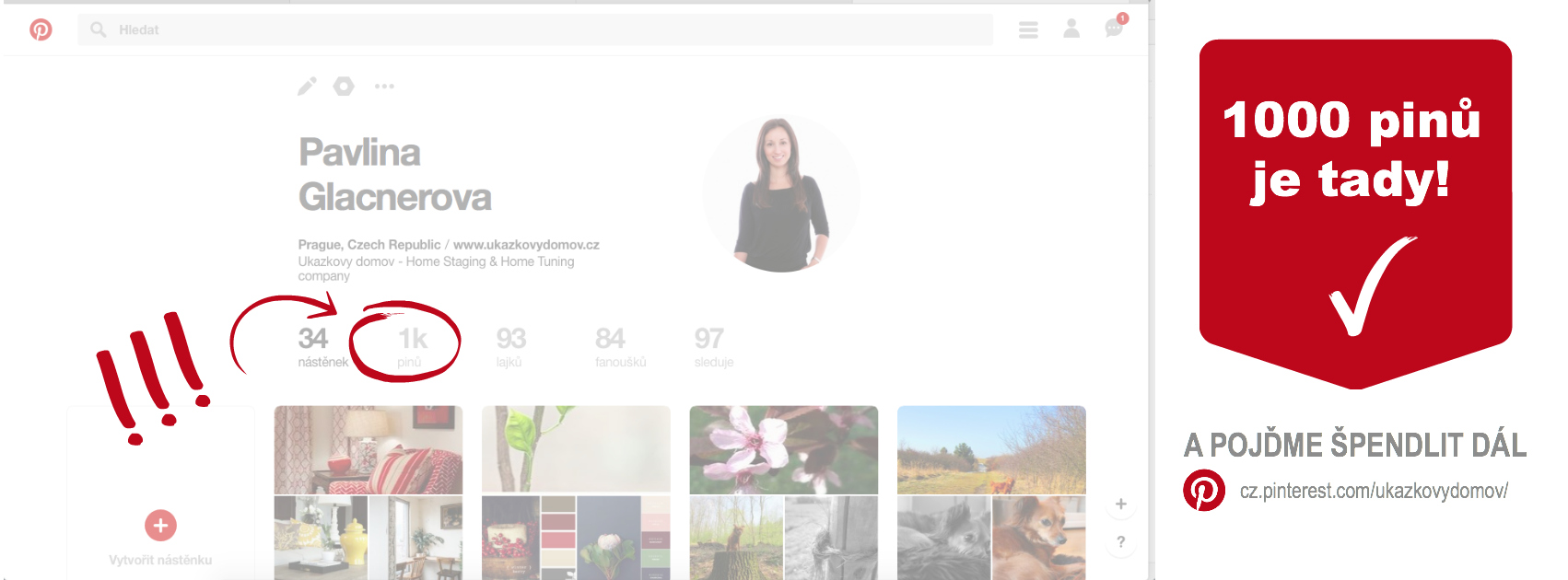 1000 pinů na Pinterestu