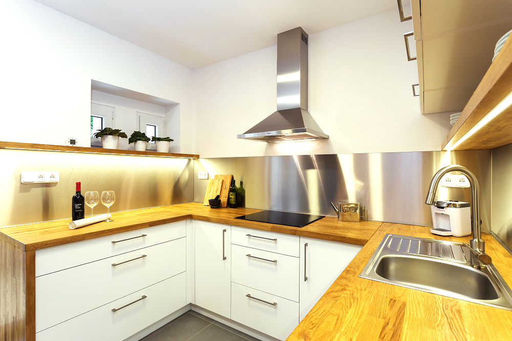 White kitchen oak steel