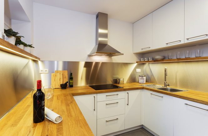 white kitchen oak steel modern