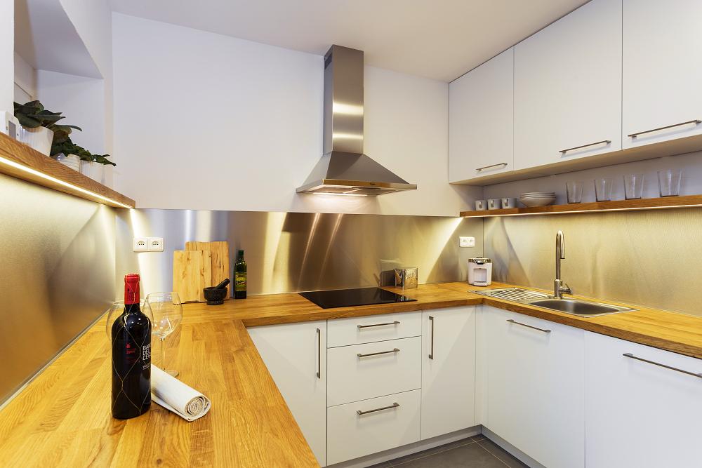 white kitchen oak steel modern